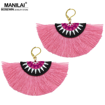 MANILAI Bohemian Embroidery Fringe Earrings For Women Handmade Cotton Tassel Big Dangle Drop Earrings Ethnic Statement Jewelry
