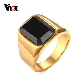 Vnox Punk Black Stone Rings for Men Jewelry Gold-Color Men Ring Add Free Gift Box
